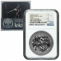 2016 2 oz Cook Islands Silver Norse Gods Loki Ultra High Relief NGC MS 70 Antiqued First Releases w/COA