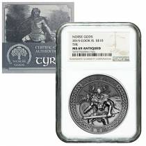 2015 2 oz Cook Islands Silver Norse Gods Tyr Ultra High Relief NGC MS 69 Antiqued w/COA