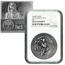 2015 2 oz Cook Islands Silver Norse Gods Hel Ultra High Relief NGC MS 69 Antiqued w/COA