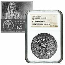 2015 2 oz Cook Islands Silver Norse Gods Hel Ultra High Relief NGC MS 70 Antiqued w/COA