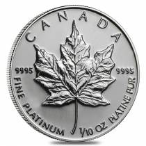 1/10 oz Platinum Canadian Maple Leaf Coin BU (Random Year)