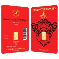 1 Gram Gold Lunar Year of the Monkey Bullion Exchanges Istanbul Gold Refinery (IGR) .9999 Bar (In Assay)