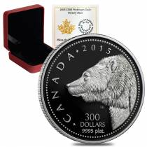 2015 1 oz Platinum Canadian Grizzly Bear $300 Proof Coin (w/Box & COA)