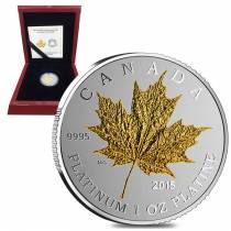 2015 1 oz Platinum Canadian Maple Leaf Forever $300 Proof (Gold Plated) Coin (w/Box & COA)