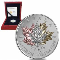 2016 1 oz Platinum Canadian Maple Leaf Forever $300 Proof (Gold Plated) Coin (w/Box & COA)