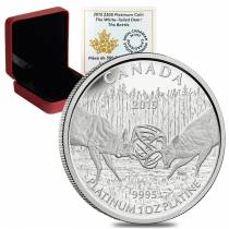 2015 1 oz Platinum Canadian White-Tailed Deer $300 Proof Coin (w/Box & COA)