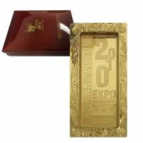 2010 China 28 Gram Shanghai World Expo Commemorative Gold Bar .999 Fine (w/Box & Frame)