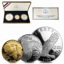 2008 W/P/S Bald Eagle Commemorative Proof 3-Coin Set (w/Box & COA)