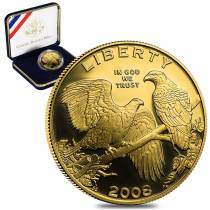 2008 W Gold $5 Commemorative Bald Eagle BU (W/Box & COA)