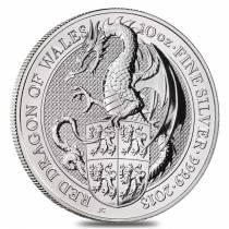 2018 Great Britain 10 oz Silver Queen's Beast (Red Dragon) Coin .9999 Fine BU In Cap