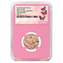 2018 W Breast Cancer Awareness $5 Gold Commemorative NGC MS 70 Early Releases (Pink Holder)
