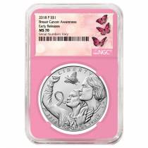 2018 P Breast Cancer Awareness Burnished Silver Dollar Commemorative NGC MS 70 Early Releases