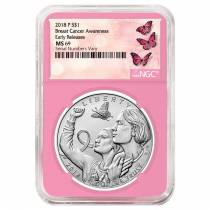 2018 P Breast Cancer Awareness Burnished Silver Dollar Commemorative NGC MS 69 Early Releases