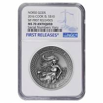 2016 2 oz Cook Islands Silver Norse Gods Sif Ultra High Relief NGC MS 70 Antiqued First Releases w/COA