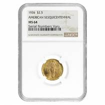 1926 Gold $2.50 American Sesquicentennial NGC MS 64