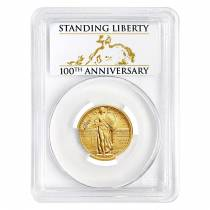 2016 1/4 oz Standing Liberty Quarter Centennial Gold Coin PCGS SP 70 First Strike