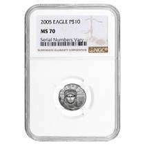 2005 1/10 oz Platinum American Eagle $10 NGC MS 70