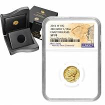 2016 1/10 oz Mercury Dime Centennial Gold Coin NGC SP 70 ER (W/Box & COA)