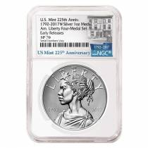 2017 W 1 oz American Liberty Enhanced Uncirculated Silver Medal NGC SP 70 ER - 225th Anniversary
