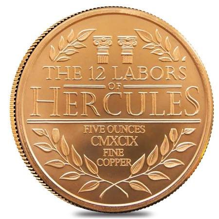 5 oz Hercules Twelve Labors Copper Round