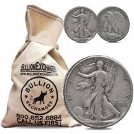 $100 Face Value Bag - 200 Coins - 90% Silver Walking Liberty Half Dollars 50c (Circulated)