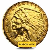 $2.5 Gold Quarter Eagle Indian Head - Ex Jewelry (Random Year)