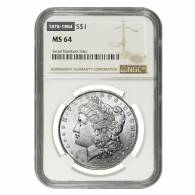 Silver Morgan Dollar NGC MS 64 (Random Year, 1878-1904)