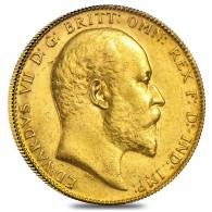 1902-1910 British Gold Half Sovereign Edward VII Avg Circ