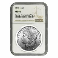 Silver Morgan Dollar NGC MS 62 (Random Year, 1878-1904)