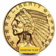 $5 Gold Half Eagle Indian Head - Almost Uncirculated AU (Random Year)