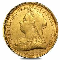 1893-1901 British Gold Sovereign Victoria Old Head w/Veil Avg Circ