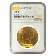 $20 Gold Double Eagle Liberty Head NGC MS 61 (Random Year)