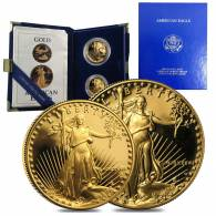 1987 W/P 1.5 oz Proof Gold American Eagle 2-coin set (w/Box & COA)