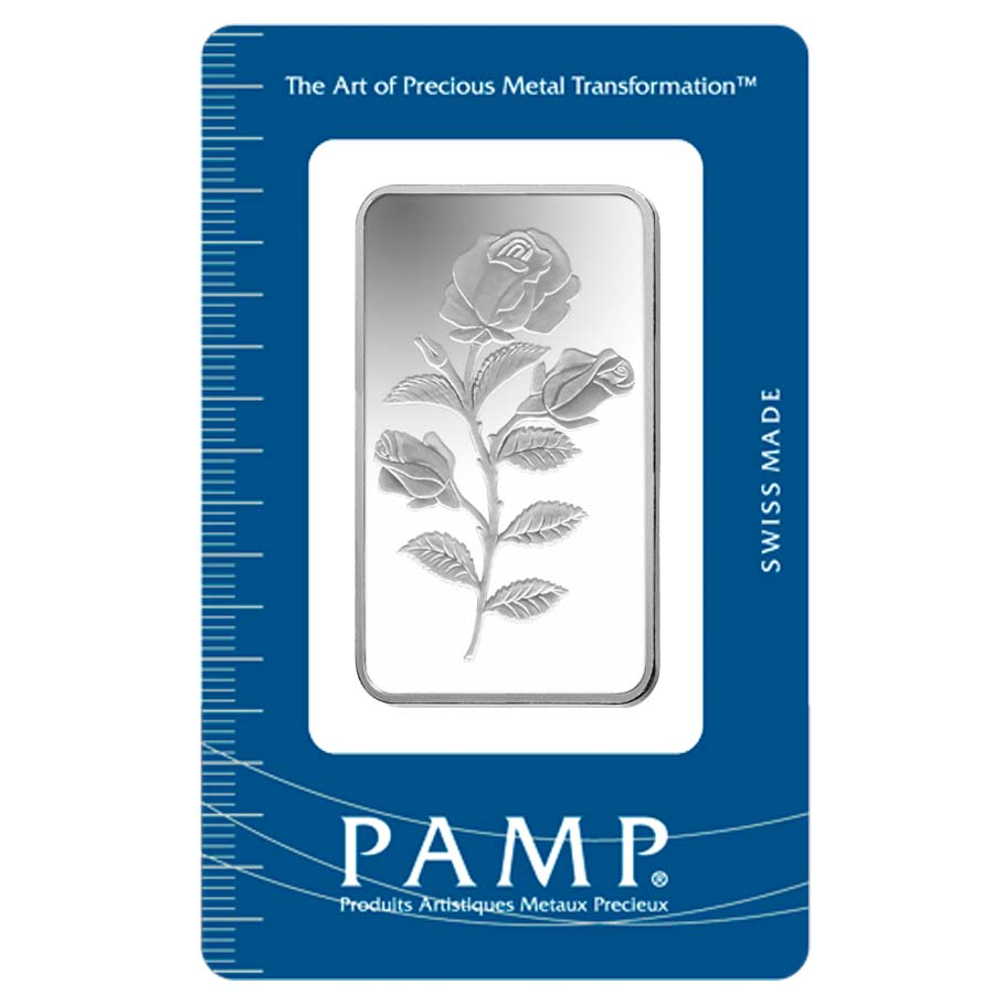 50 Gram Pamp Suisse Rosa Silver Bar 999 Fine In Assay