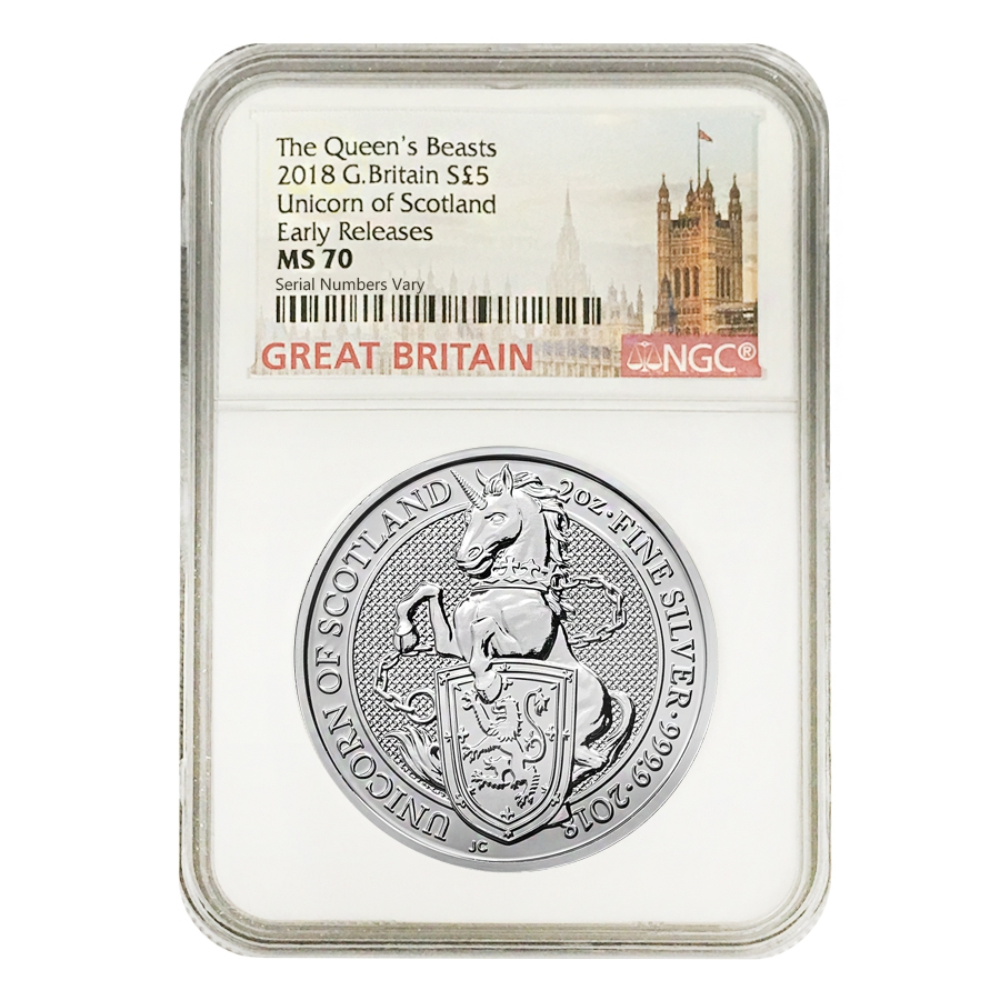 2019 Great Britain 10 oz silver Queens Beasts Unicorn NGC MS70