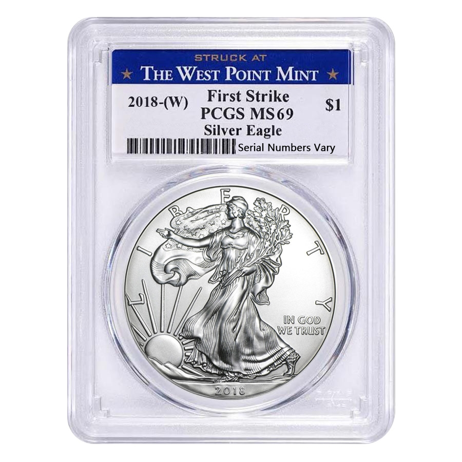 2018 (W) 1 oz Silver American Eagle $1 Coin PCGS MS 69 First Strike (West Point)