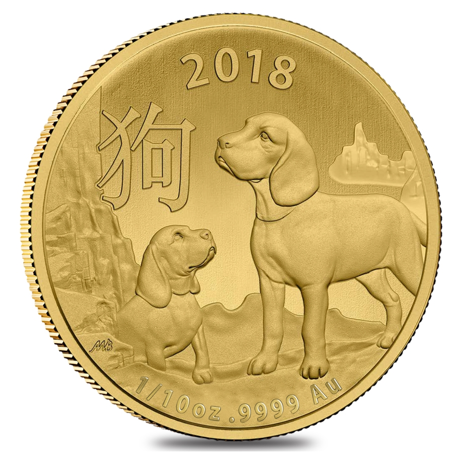 2018 1 10 Oz Gold Lunar Year Of The Dog Coin 9999 Fine Bu