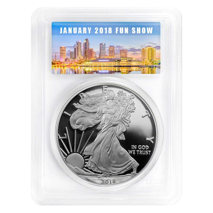 2018 W 1 Oz Proof Silver American Eagle Pcgs Pf 70 First