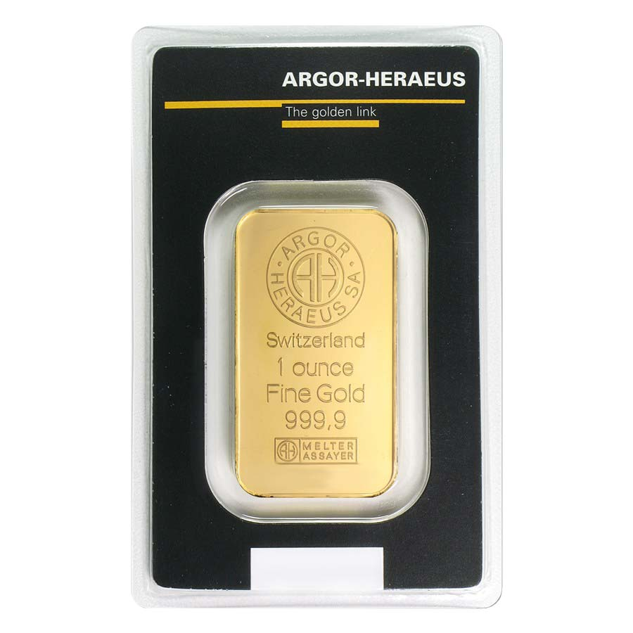 1 Oz Gold Bar Argor Heraeus 999 Fine In Assay Ebay