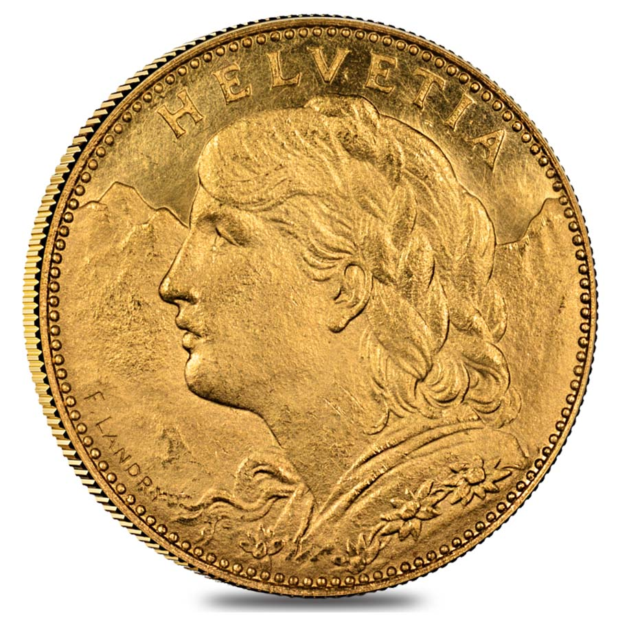 10 Swiss Francs Gold Coin 0 0933 Agw Avg Circ 1911 1922