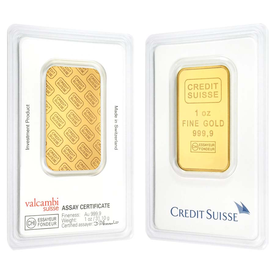 1 Oz Credit Suisse Gold Bar 9999 Fine In Assay Ebay