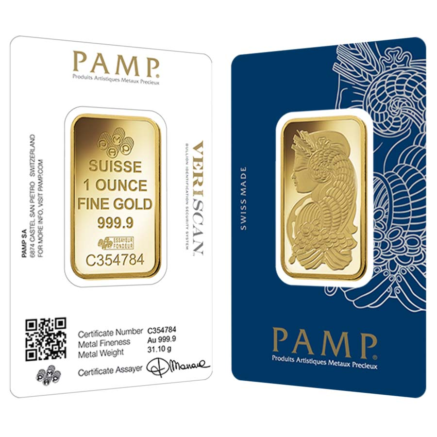 1 Oz Gold Bar Pamp Suisse Lady Fortuna Veriscan 9999 Fine