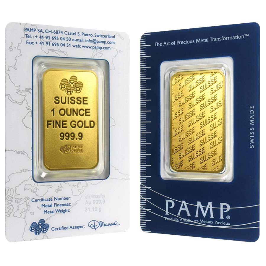 1 Oz Gold Bar Pamp Suisse New Design In Ay