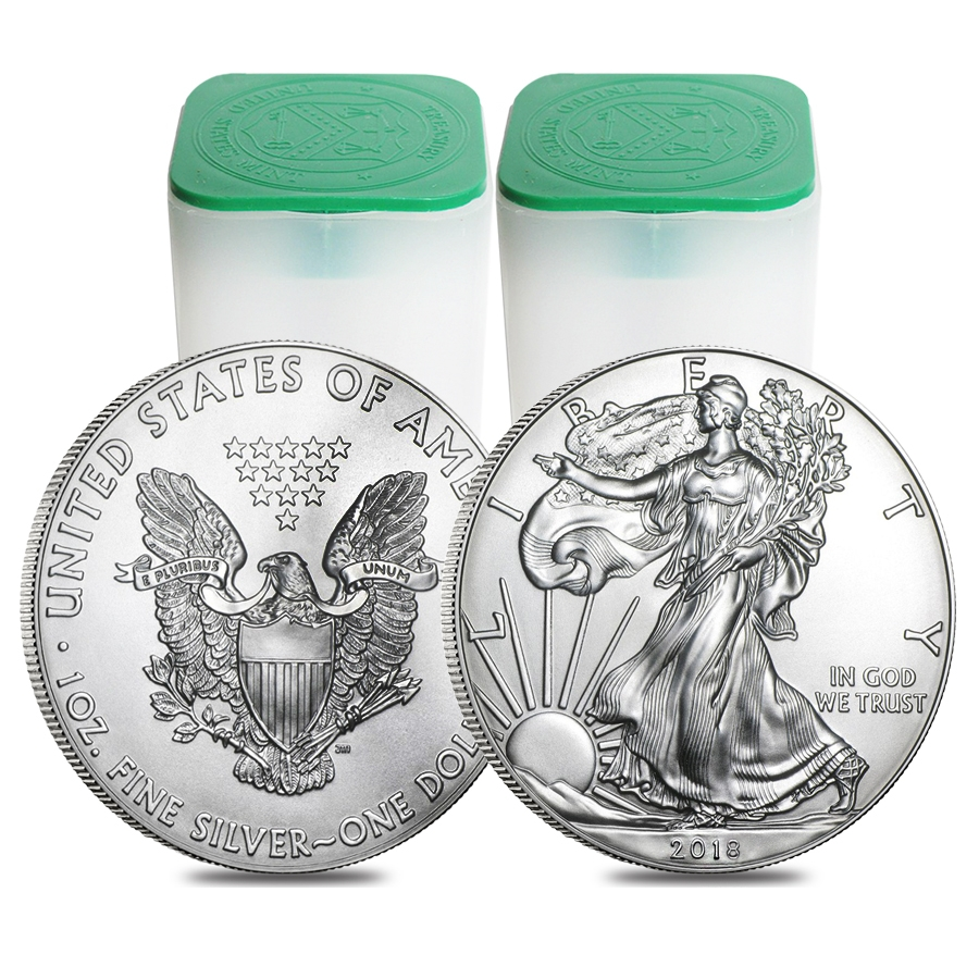 Lot of 40 - 2018 1 oz Silver American Eagle $1 Coin BU (2 Roll,Tube of 20)