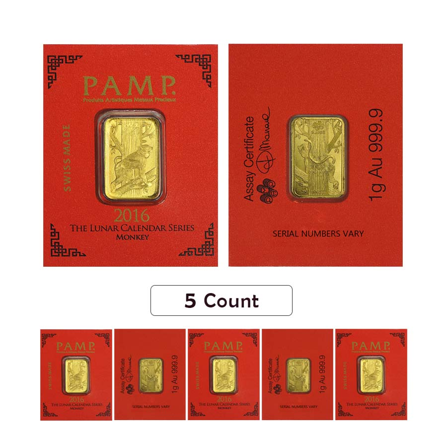 Lot Of 5 1 Gram Gold Bar Pamp Suisse Lunar Monkey
