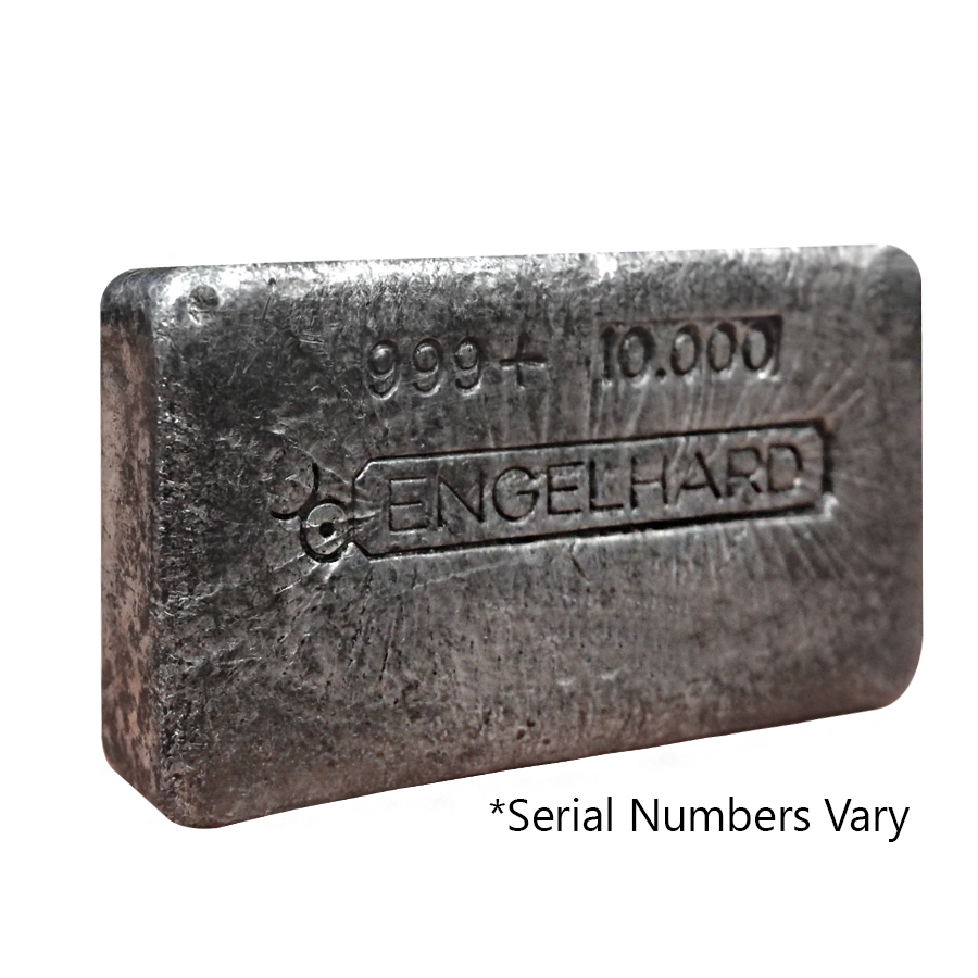 10 Oz Silver Bar Engelhard 999 Fine Poured Loaf Style