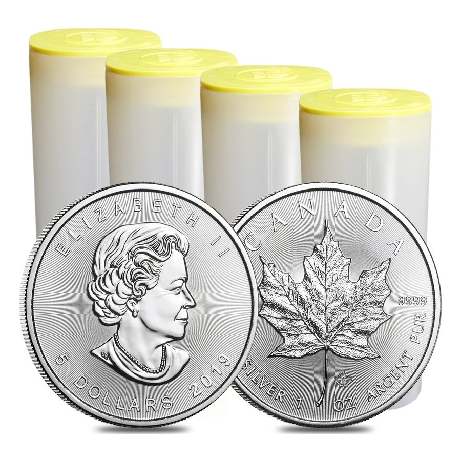 Empty 1 oz RCM Silver Maple Leaf Coin Tubes Yellow Top // Lid 6 Canadian Mint