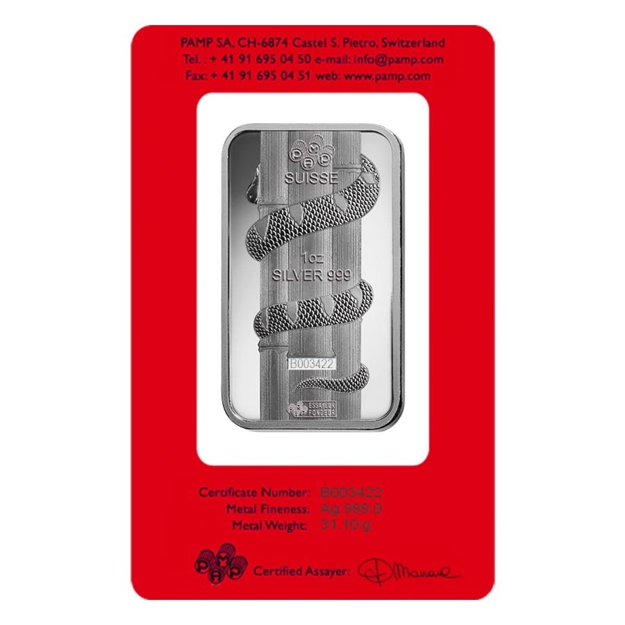 1 Oz Pamp Suisse Year Of The Snake Silver Bar In Assay