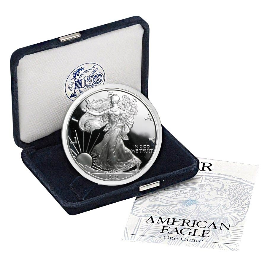 14th Year of Issue,Both Original BOXES /& COA 1999-P PROOF SILVER EAGLE