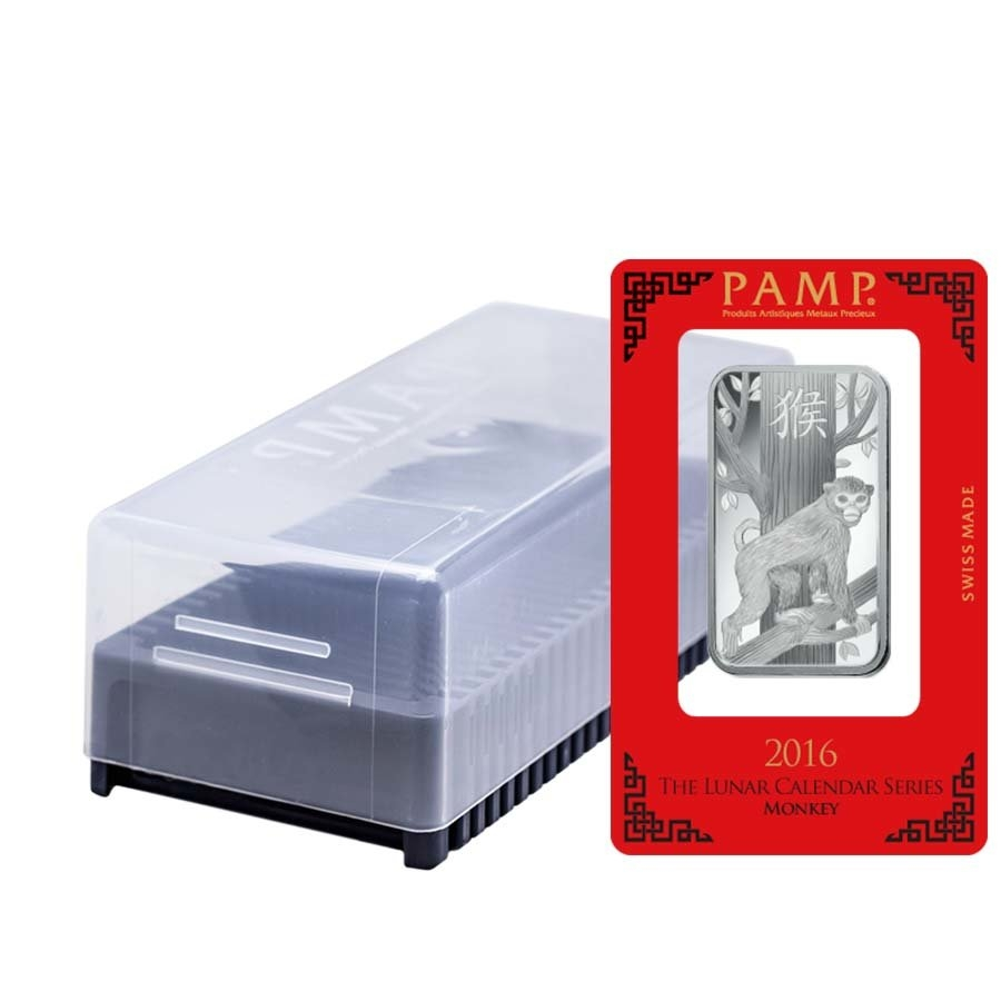 1 Oz Pamp Suisse Year Of The Monkey Silver Bar In Assay